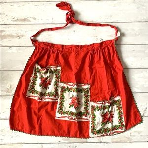 Vintage Christmas Apron Red White 3 Pockets